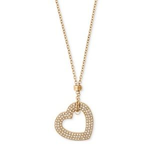 Michael Kors Gold Pave Heart Pendant Necklace